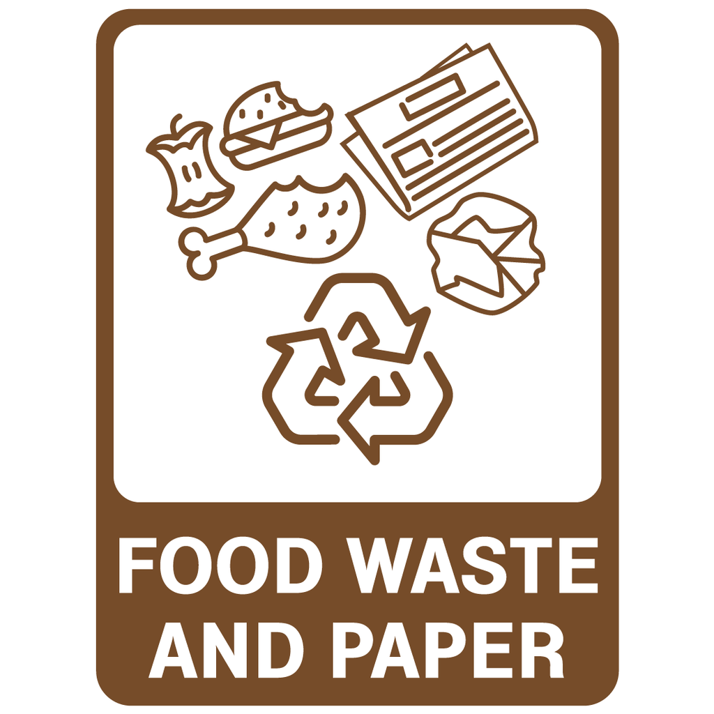 Recycling -  Food Waste & Paper  Sign