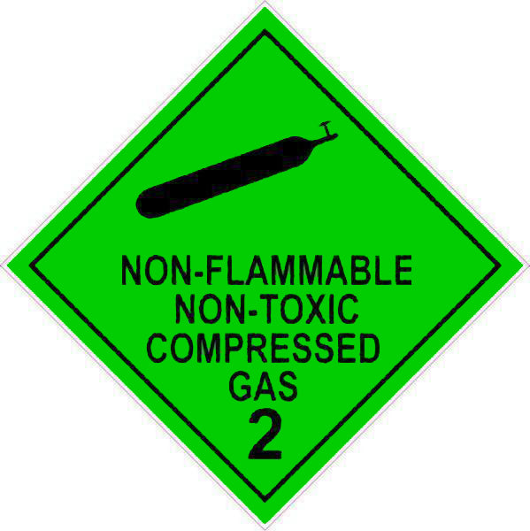 Hazchem Diamond  Class 2 - Non-Flammable Non-Toxic Compressed Gas 2  Sign