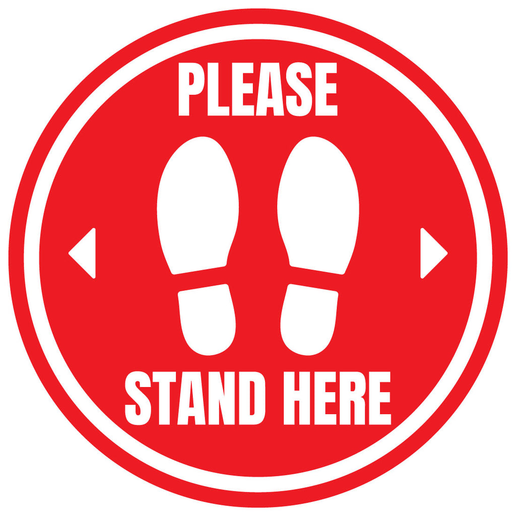 Please Stand Here Floor Stickers Bulk Pack
