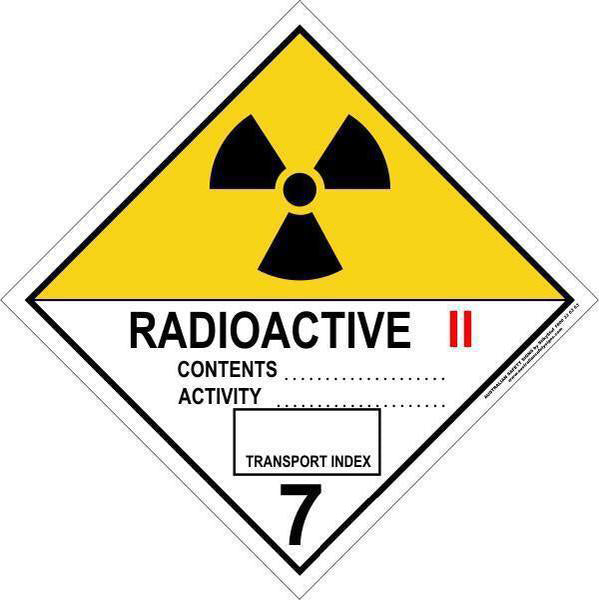 Hazchem Diamond  Class 7 - Radioactive - Category 2  Sign