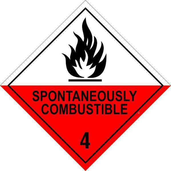 Hazchem Diamond  Class 4 - Spontaneously Combustible  Sign