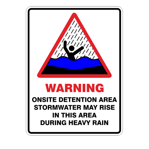 Onsite Detention Area  Sign