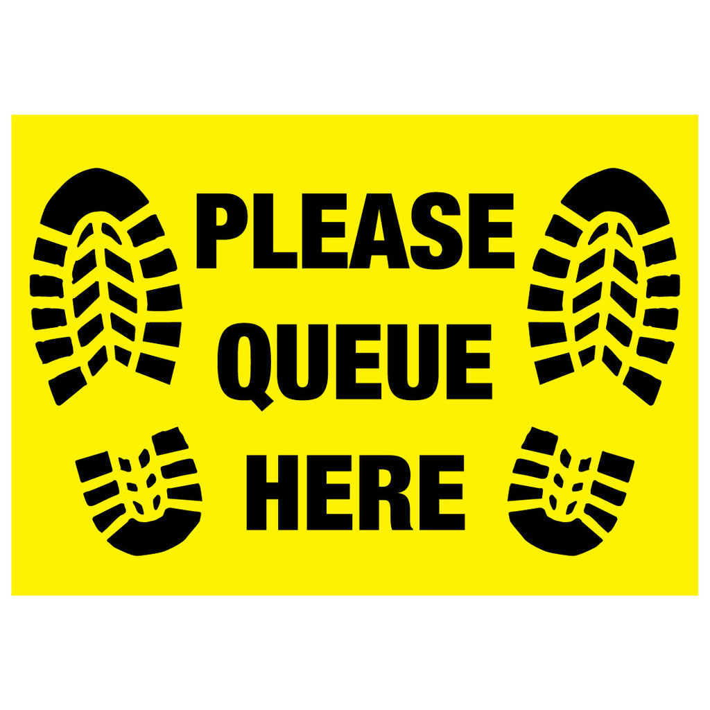 Please Queue Here Floor Sticker Stickers