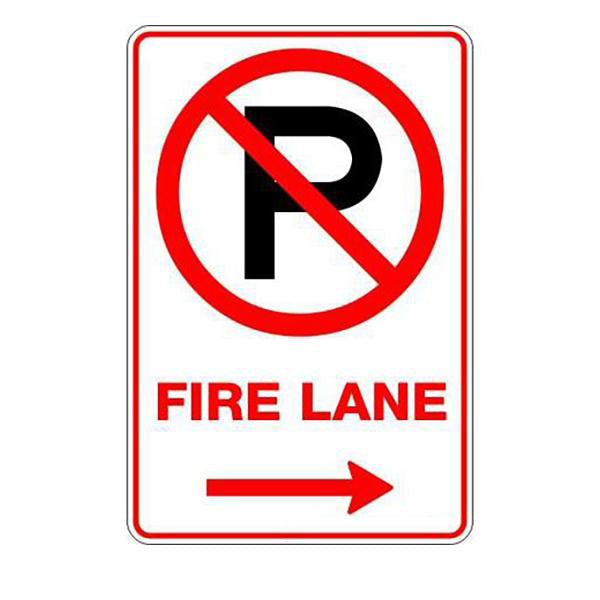 Fire Safety - Fire Lane P Right Arrow Sign