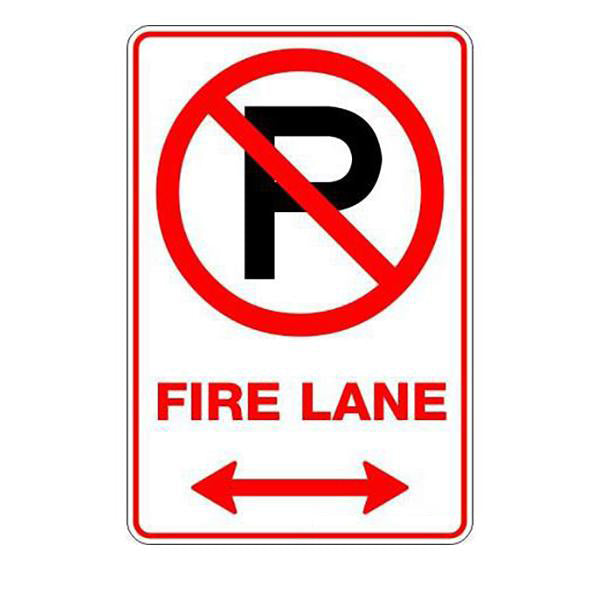 Fire Safety - Fire Lane P Span Arrow Sign