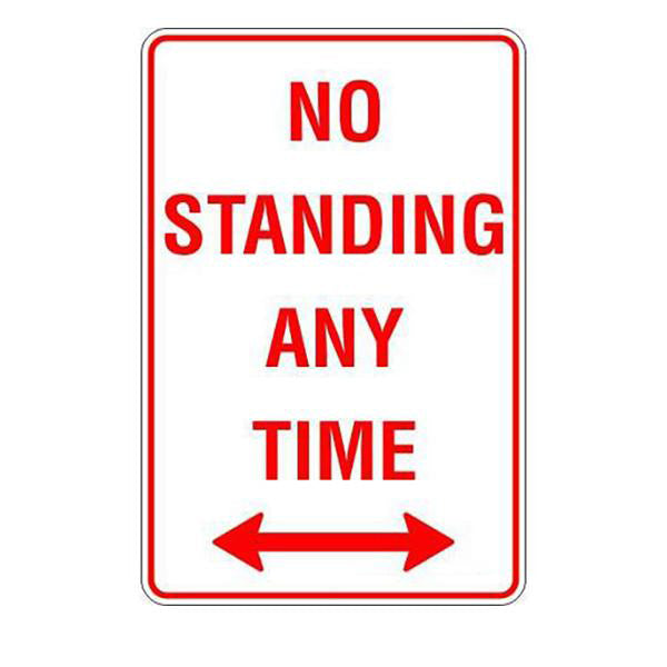 No Standing At Any Time Span Arrow  Sign