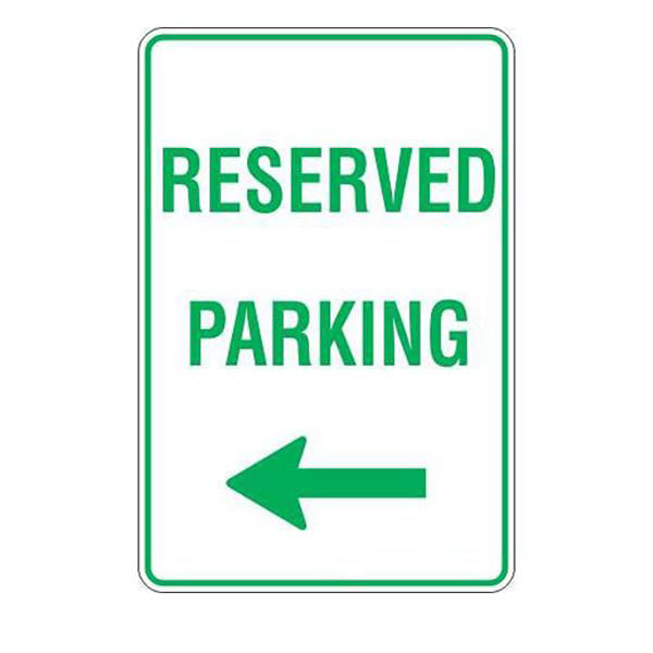 Reserved Parking Left Arrow  Sign