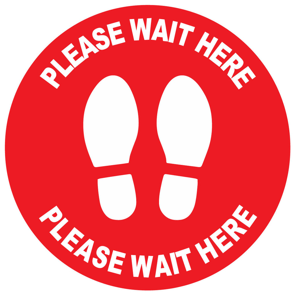 Please Wait Here Floor Stickers Bulk Pack