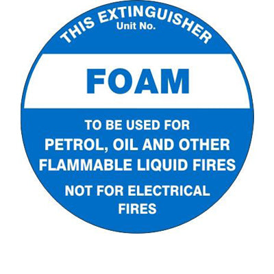 Fire Safety  Extinguisher Id Marker Foam  Sign
