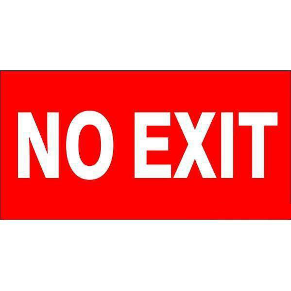 Fire Safety - No Exit Sign