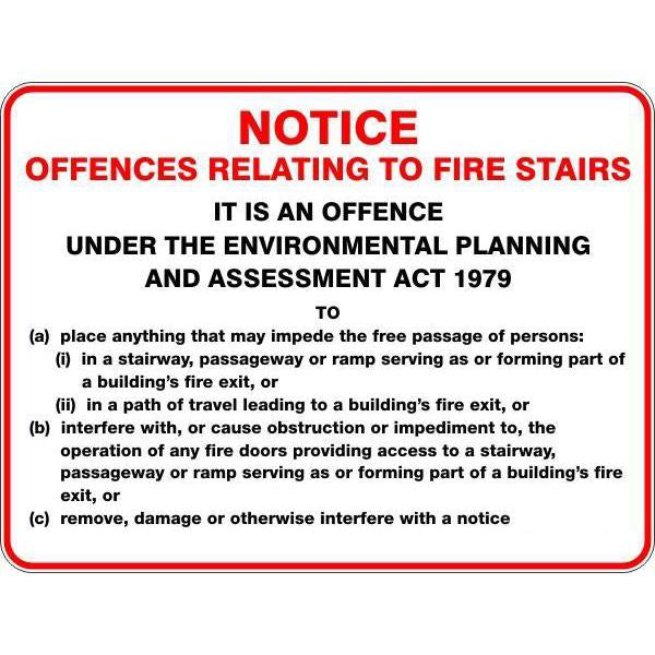 Fire Safety Notice - Notice Offences Relating To Fire Stairs Sign
