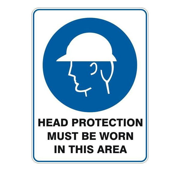 Head Protection Must Be Worn In This Area  Sign