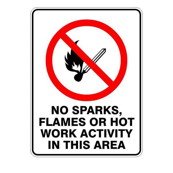 No Sparks Flames Or Hot Work Activity In This Area  Sign