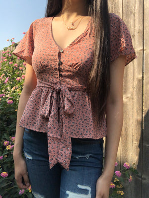 Rose Button Down Top