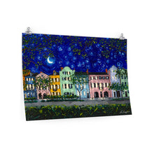 Load image into Gallery viewer, Rainbow Row at Night Print On Paper-Poster-fercaggiano