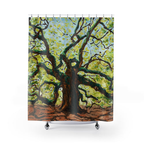 Angel Oak Tree Shower Curtains-Home Decor-fercaggiano