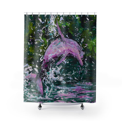 Pink Dolphin Shower Curtains-Home Decor-fercaggiano