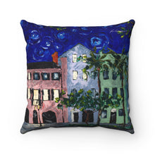 Load image into Gallery viewer, Rainbow Row at Night Spun Polyester Square Pillow-pillows-fercaggiano