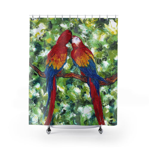 Parrotdise - Macaw Birds - Shower Curtains-Home Decor-fercaggiano