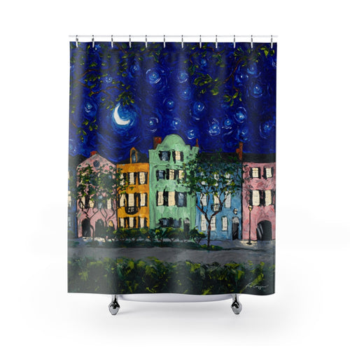 Rainbow Row at Night Shower Curtains-Home Decor-fercaggiano
