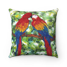 Load image into Gallery viewer, Macaws Spun Polyester Square Pillow-pillows-fercaggiano