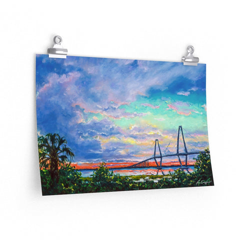 Sunset Over Ravenel Bridge Print On Paper-Poster-fercaggiano