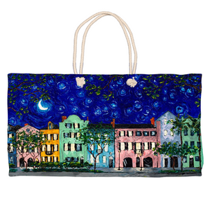Rainbow Row At Night Weekender Totes-tote-fercaggiano