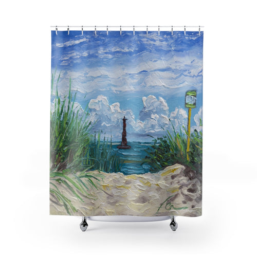 Arriving at Morris Island Shower Curtains-Home Decor-fercaggiano