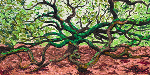 "Angel Oak | Original Oil Painting | 24x12""-original art-fercaggiano"