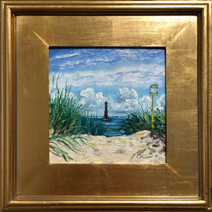 "Arriving at Morris Island Lighthouse | Original Oil | 8x8""-original art-fercaggiano"
