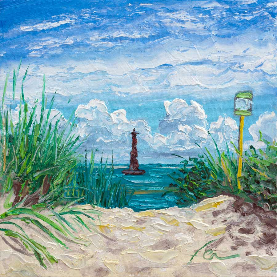 Arriving at Morris Island Lighthouse | Original Oil | 8x8