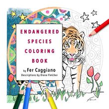 "Load image into Gallery viewer, Endangered Species Coloring Book 8.5 x 8.5""-book-fercaggiano"