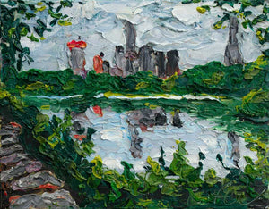 "Central Park Lake | Original Oil | 14x11""-original art-fercaggiano"