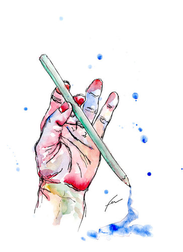 Hand Study 3 Original Watercolor 9x12-fercaggiano