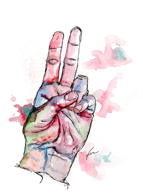 Hand Study 4 Original Watercolor 9x12-fercaggiano
