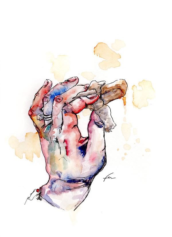 Hand Study 5 Original Watercolor 9x12-fercaggiano
