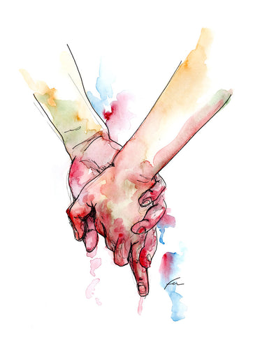 Holding Hands 7 Original Watercolor 9x12-fercaggiano
