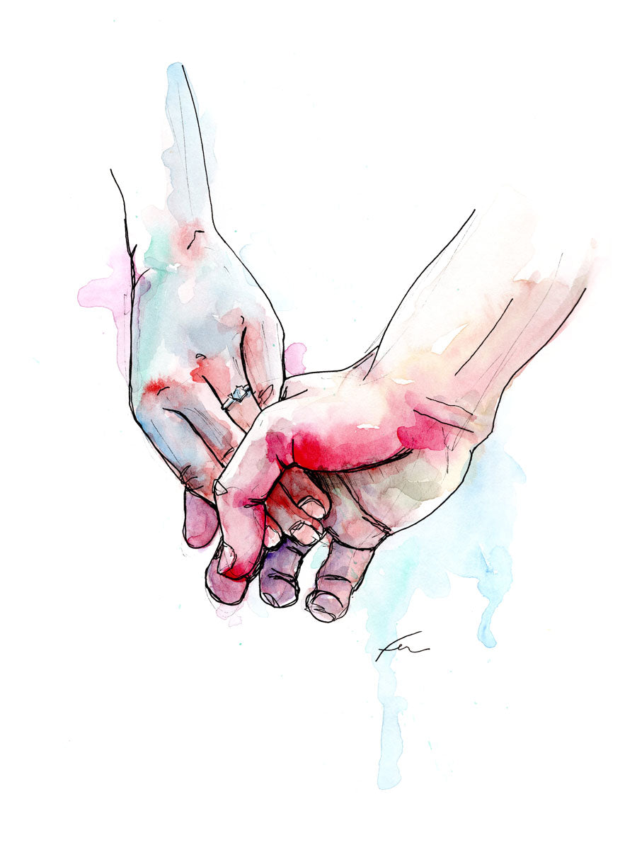Holding Hands 8 Original Watercolor 9x12-fercaggiano