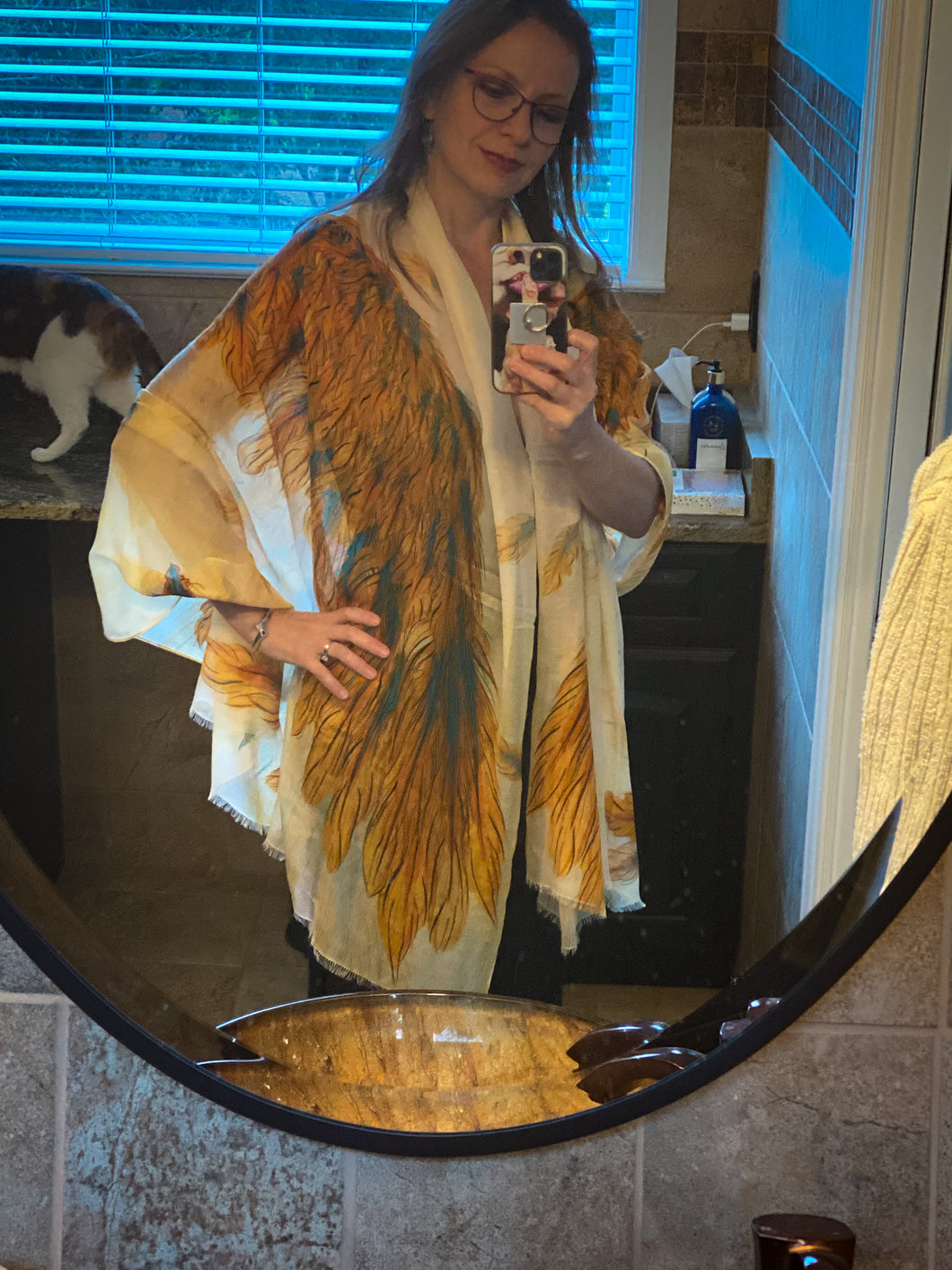 Orange Fall Wings Modal Shawl (Limited Edition)-scarves and shawls-fercaggiano