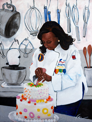 Portrait of Chef Kimberly Brock Brown | Original Oil Painting | 30x40