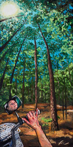 "Self-Portrait at Laurel Hill Park | Original Oil Painting | 24x48""-original art-fercaggiano"