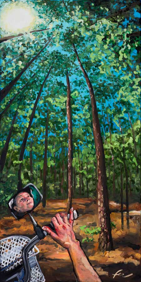 Self-Portrait at Laurel Hill Park | Original Oil Painting | 24x48