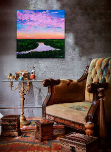"Lilac Reflections | Original Oil | 20x20""-original art-fercaggiano"