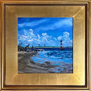 "Morris Island Lighthouse, Low Tide 2 | Original Oil | 10x10""-original art-fercaggiano"