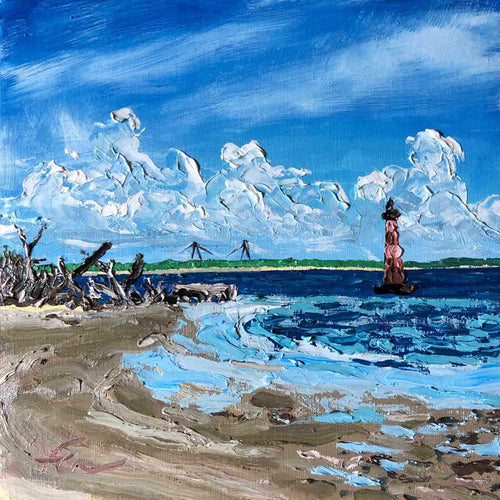 Morris Island Lighthouse, Low Tide 2 | Original Oil | 10x10