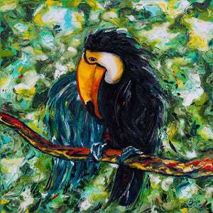 "Toucan | Original Oil Painting | 30x30""-original art-fercaggiano"