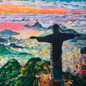 "Rio Blessed City | Original Oil Painting | 30x30""-original art-fercaggiano"
