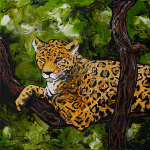 "Onça-Pintada (Jaguar) | Original Oil Painting | 20x20""-original art-fercaggiano"