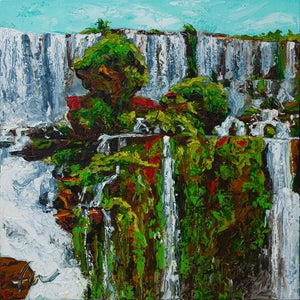 "Iguazu Falls| Original Oil Painting | 20x20""-original art-fercaggiano"