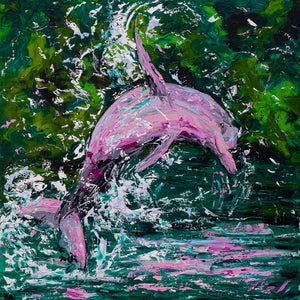 "Pink Dolphin | Original Oil Painting | 30x30""-original art-fercaggiano"